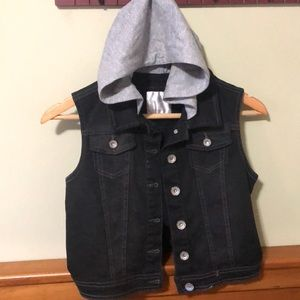 Justice 12/14 black denim vest with attached gray
